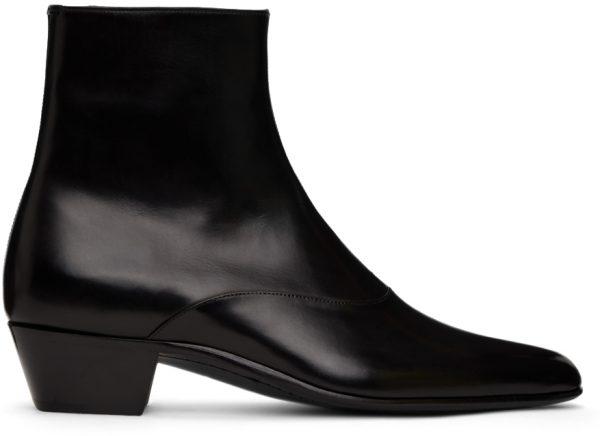 Saint Laurent Black Franz Zipped Boots