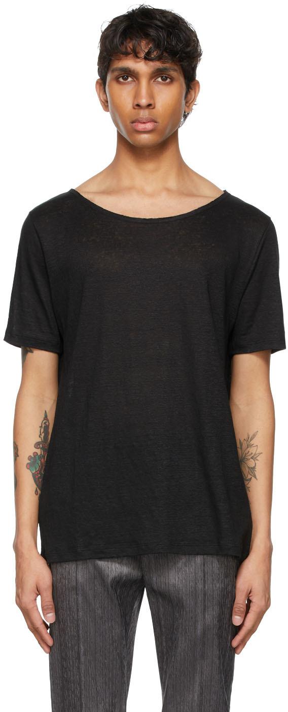 Saint Laurent Black Linen Bat T-Shirt