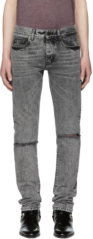 Saint Laurent Black Slit Knee Jeans