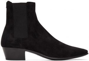 Saint Laurent Black Suede Dylan Chelsea Boots