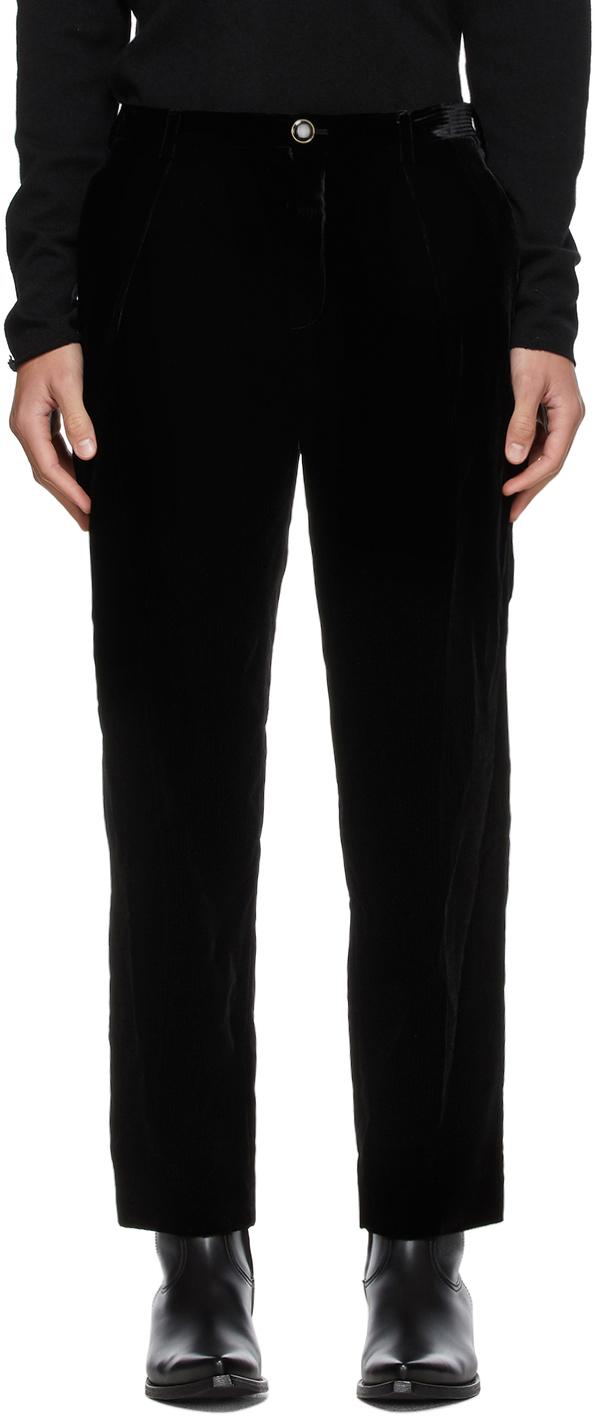 Saint Laurent Black Velvet Pleated Trousers