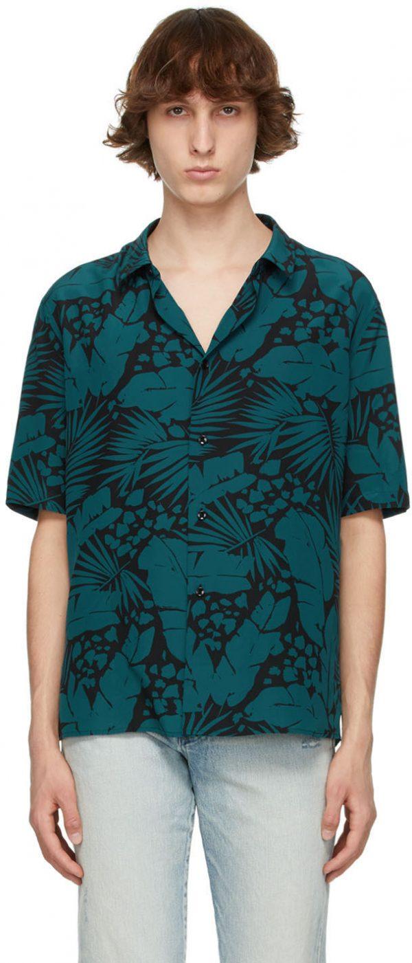 Saint Laurent Black & Blue Crepe De Chine Short Sleeve Shirt