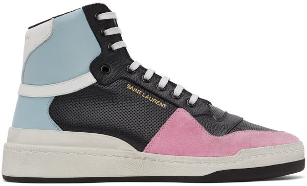 Saint Laurent Black & Blue SL24 High-Top Sneakers