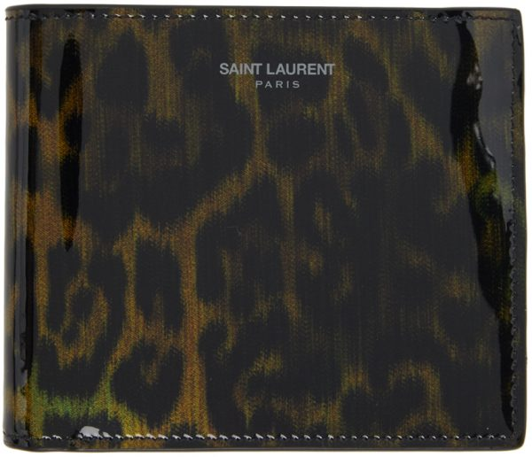 Saint Laurent Black & Brown Leopard Print East/West Wallet