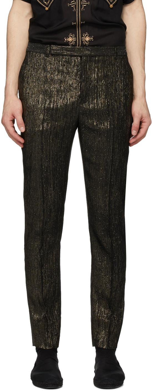 Saint Laurent Black & Gold Slim-Fit Trousers