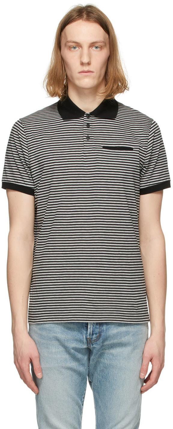 Saint Laurent Black & Grey Striped Polo
