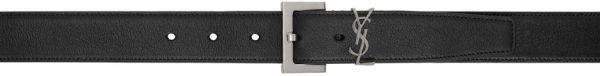 Saint Laurent Black & Silver Monogramme Belt