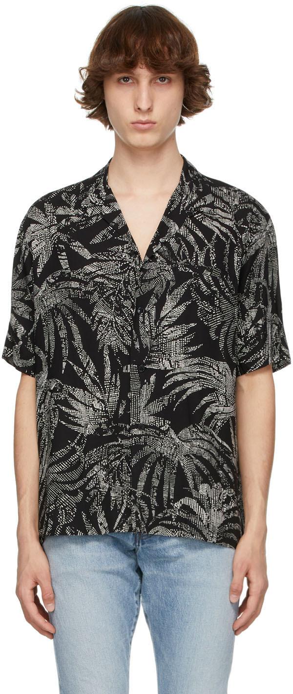 Saint Laurent Black & White Dotted Leaf Short Sleeve Shirt