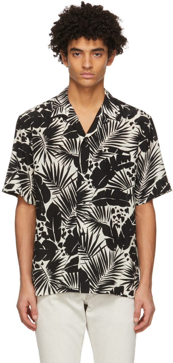 Saint Laurent Black & White Silk Tropical Shark-Collar Short Sleeve Shirt