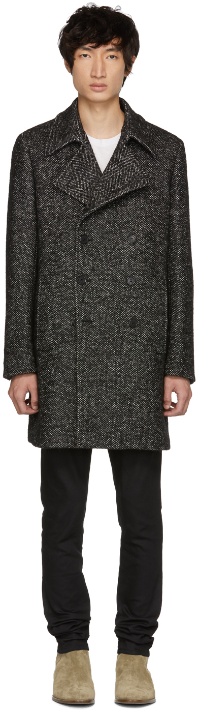 Saint Laurent Black & White Three-Button Coat