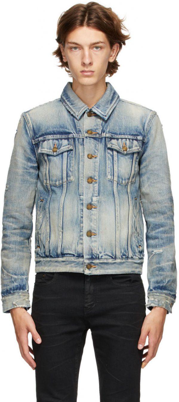 Saint Laurent Blue Denim 70's Trashed Jacket