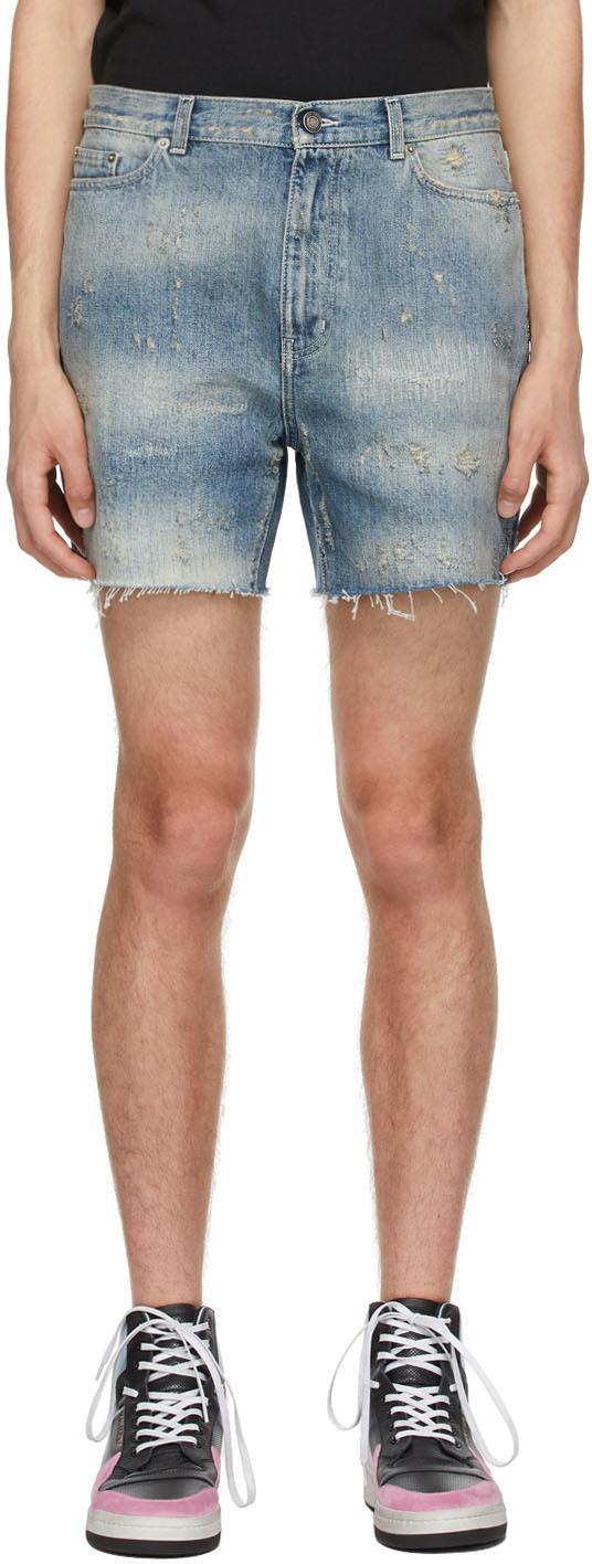 Saint Laurent Blue Denim Destroyed California Shorts