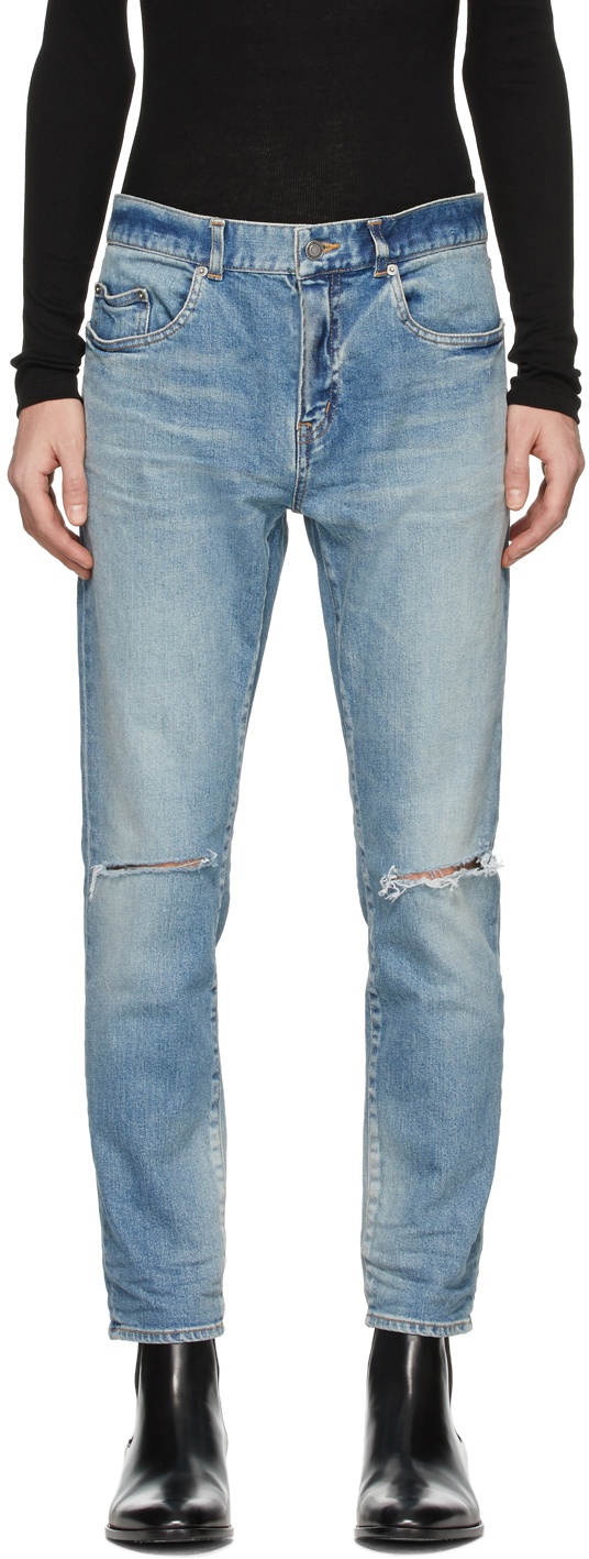 Saint Laurent Blue Distressed Slim Jeans