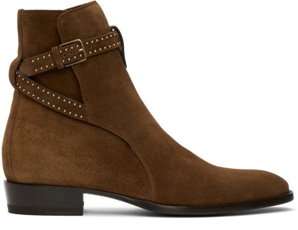 Saint Laurent Brown Wyatt Jodhpur Boots