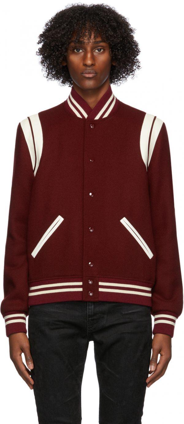 Saint Laurent Burgundy Wool Teddy Bomber Jacket