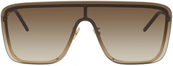 Saint Laurent Gold SL 364 Shield Sunglasses