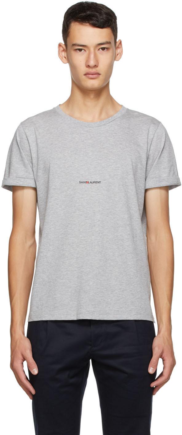 Saint Laurent Grey Logo T-Shirt