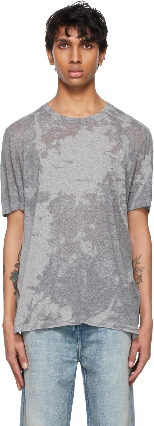 Saint Laurent Grey Shiny T-Shirt