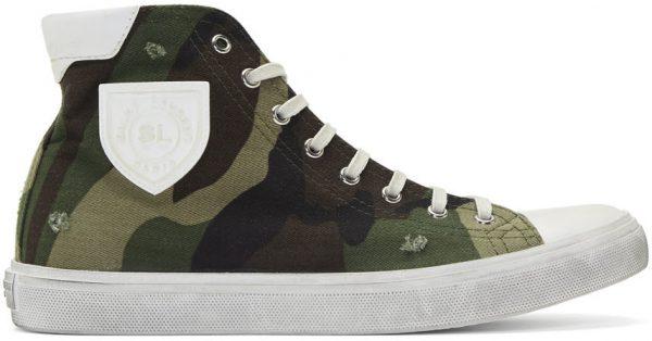 Saint Laurent Khaki Camouflage Print Bedford Sneakers