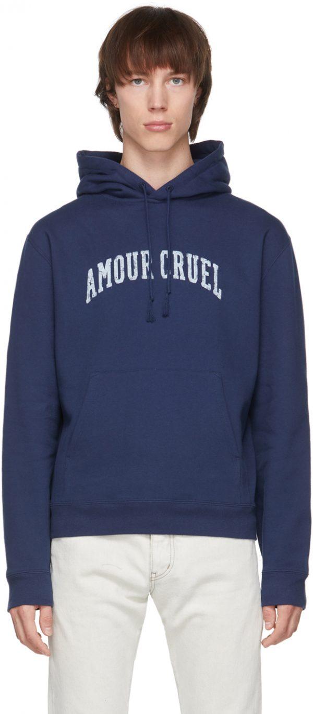 Saint Laurent Navy 'Amour Cruel' Hoodie
