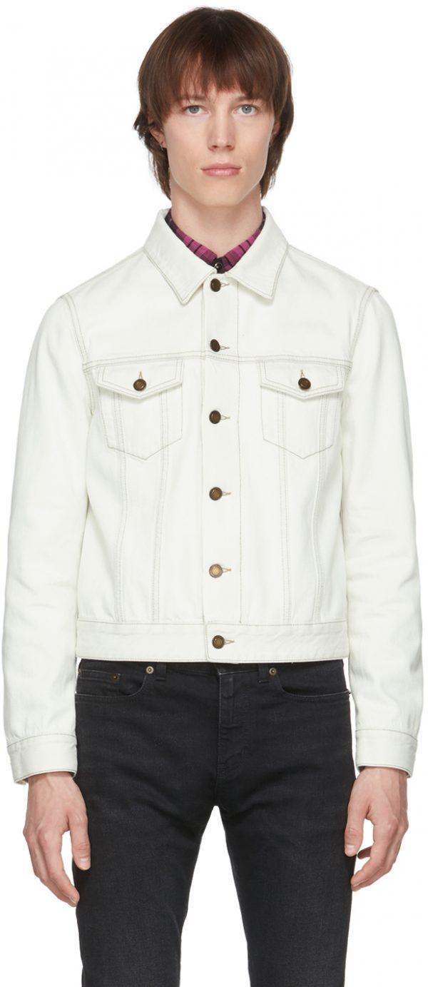 Saint Laurent Off-White Denim Fitted Jacket