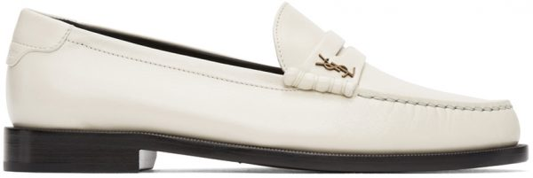 Saint Laurent Off-White Monogram Penny Loafers