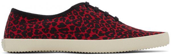 Saint Laurent Red & Black Leopard Heart Print Sid Low-Top Sneakers