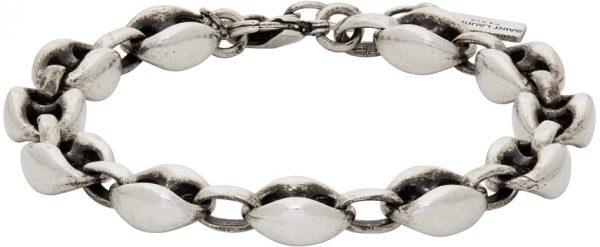 Saint Laurent Silver Oxided Cable Chain Bracelet