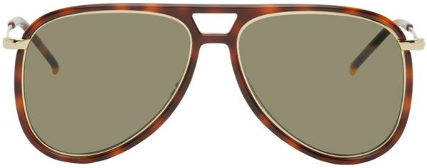 Saint Laurent Tortoiseshell SL 11 Aviator Sunglasses