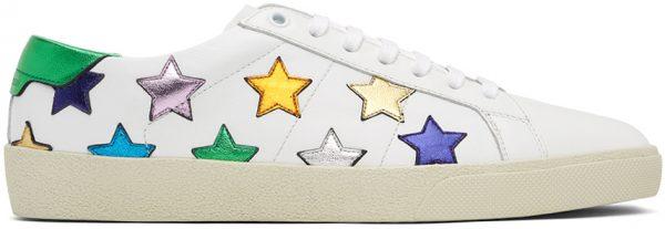 Saint Laurent White Metallic California Court Classic SL/06 Sneakers