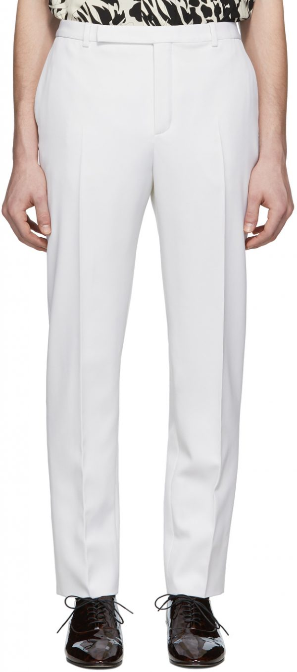 Saint Laurent White Wool Tapered Trousers