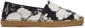 Saint Laurent White & Black Hibiscus Print Espadrilles