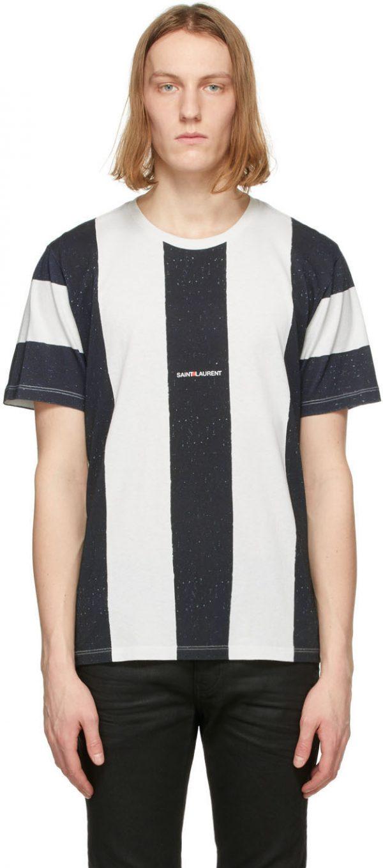 Saint Laurent White & Black Striped Rive Gauche Logo T-Shirt