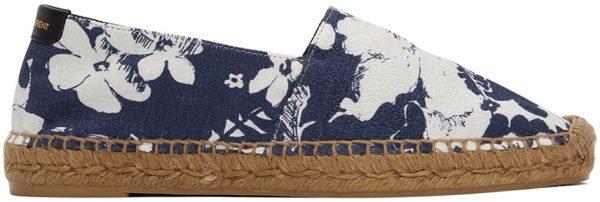 Saint Laurent White & Blue Hibiscus Print Espadrilles