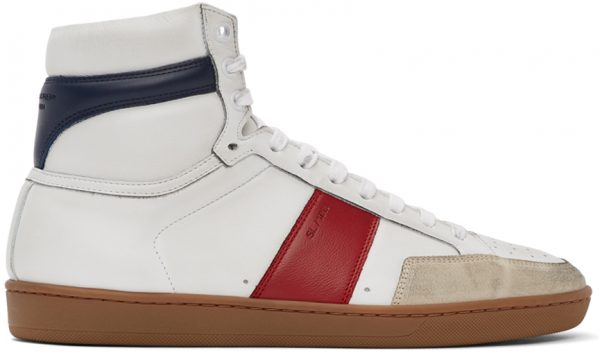 Saint Laurent White & Red Court Classic SL/10H Sneakers
