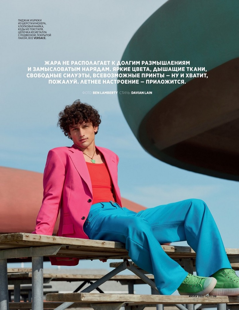 Simon Nessman Charms in Bright Summer Fashions for GQ Russia