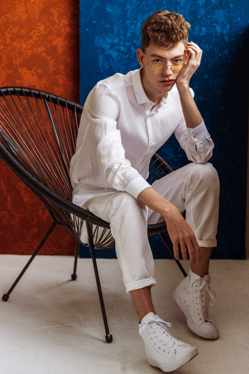 Smart Casual Male Model White Shirt Pants Sneakers