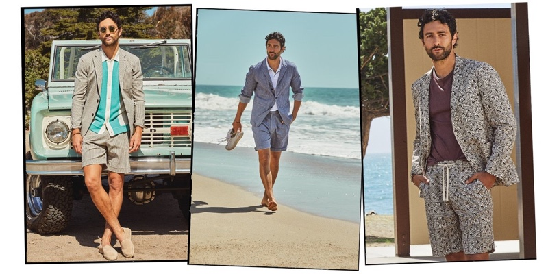 Noah Mills models chic looks from Todd Snyder's summer 2021 collection.