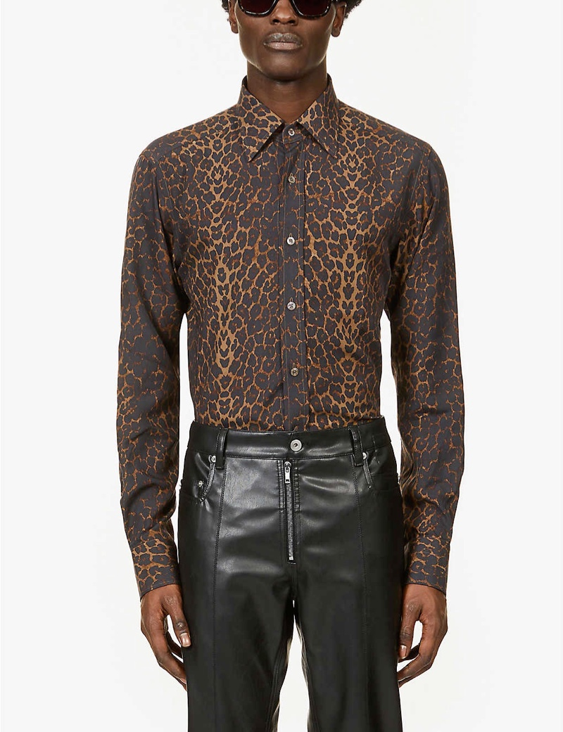 Tom Ford Leopard-Print Relaxed-Fit Crepe Shirt