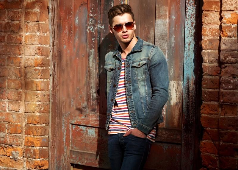 Trendy Man Denim Jacket Striped Shirt Jeans Casual Style