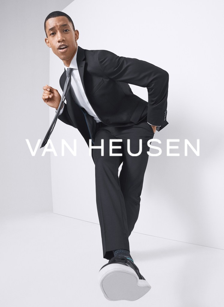 Jerel Anderson charms as the star of Van Heusen's summer 2021 men's campaign.
