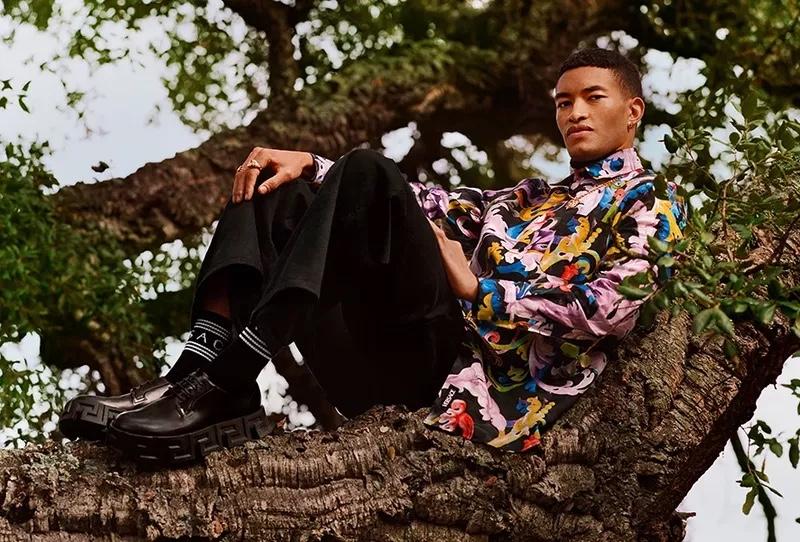 Raphael Balzer stars in Versace's pre-fall 2021 men's campaign.