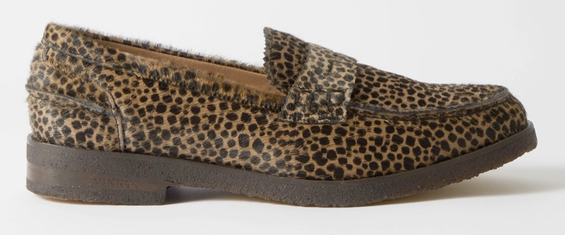 Vinnys Paname Leopard-Print Calf Hair Penny Loafers