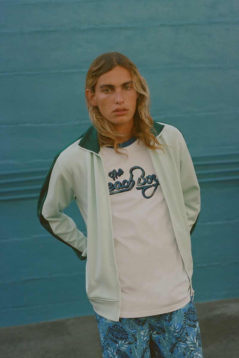 Model Lucas Ucedo rocks a laid-back look from Zara's The Beach Boys collection.