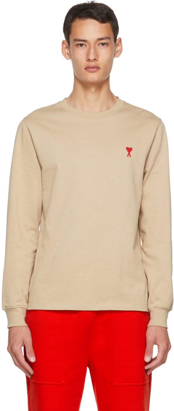 AMI Alexandre Mattiussi Beige Ami De Coeur Long Sleeve T-Shirt