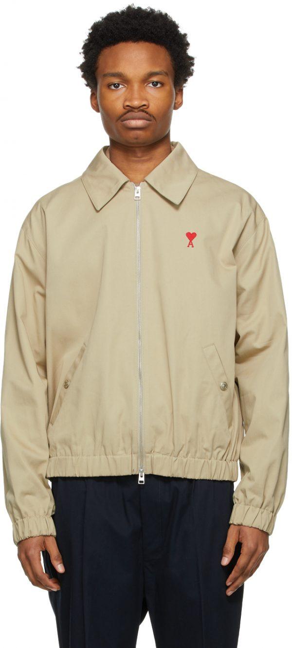 AMI Alexandre Mattiussi Beige Ami De Coeur Zipped Jacket