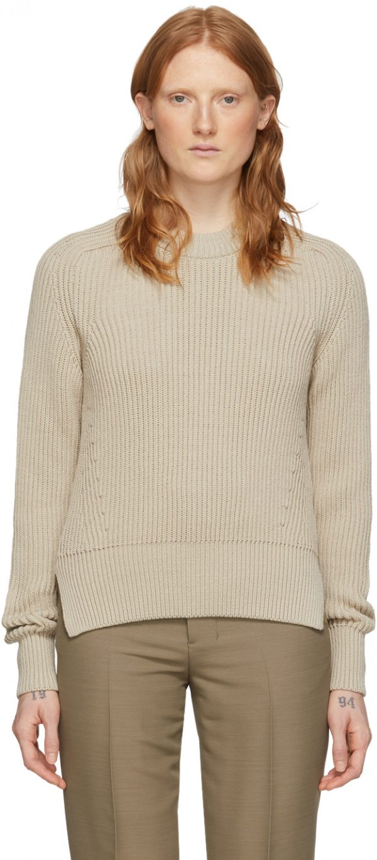 AMI Alexandre Mattiussi Beige Hammer Sleeve Sweater