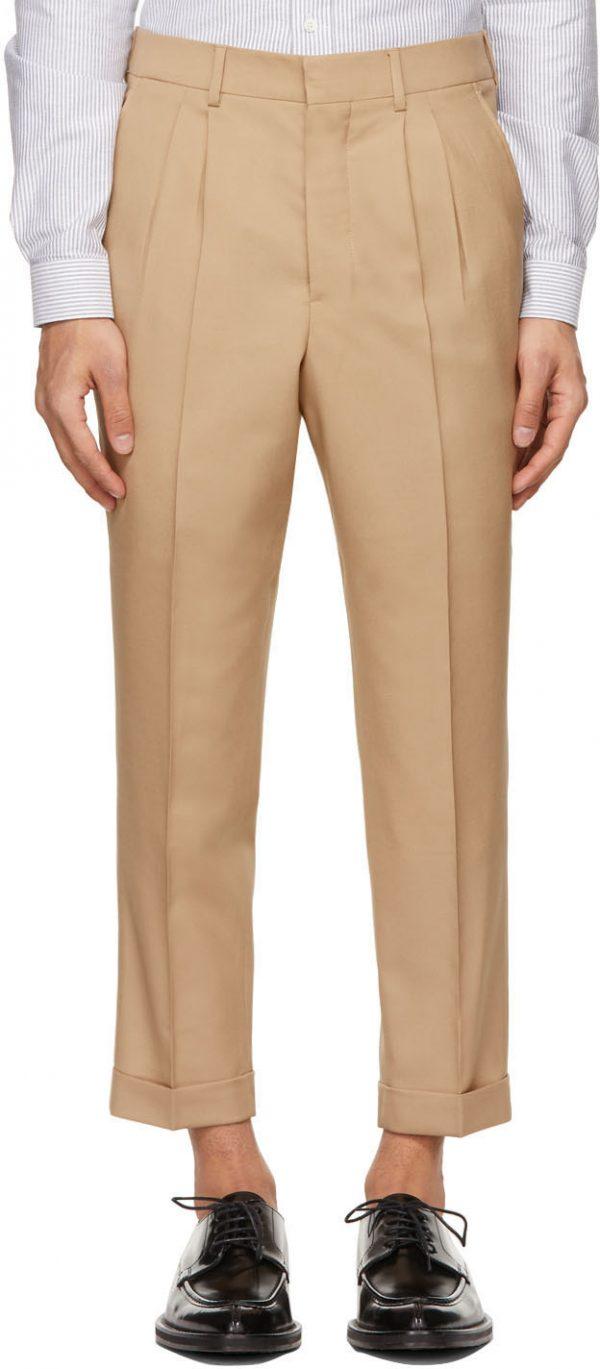 AMI Alexandre Mattiussi Beige Tropical Wool Carrot Fit Trousers