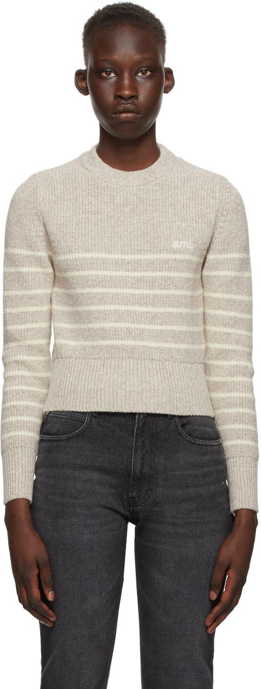 AMI Alexandre Mattiussi Beige & Off-White Merino Breton Stripe Sweater