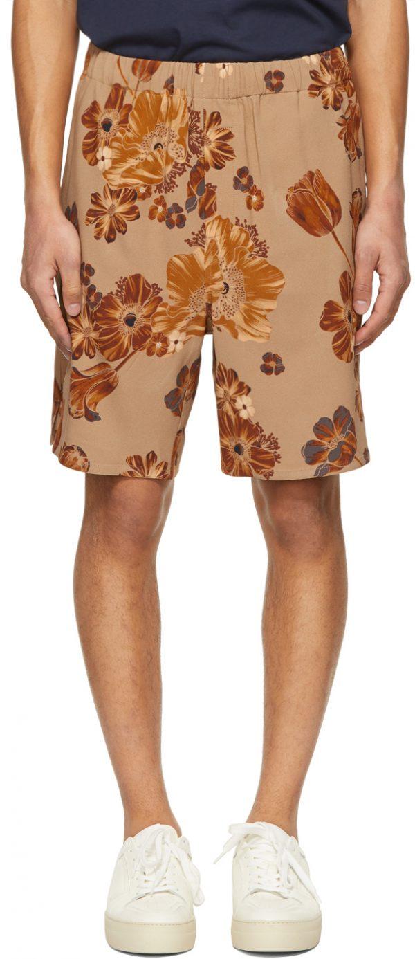 AMI Alexandre Mattiussi Beige & Orange Flower Printed Elasticized Waist Bermuda Shorts